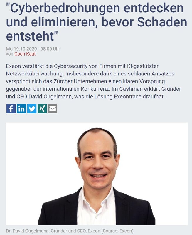 Article with a portrait picture of CEO Dr. David Gugelmann