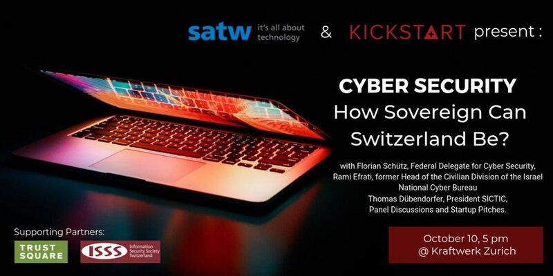 Advertising image with half-open computer for event on Swiss cyber-sovereignty