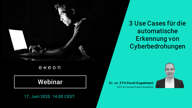 German banner for webinar by CEO Dr. David Gugelmann on automatic detection of Threats