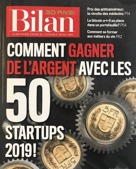 French magazine cover of the best 50 2019 Swiss startups by Bilan