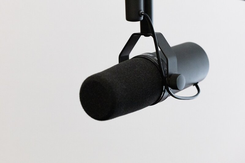 Professional Recording microphone on a white background